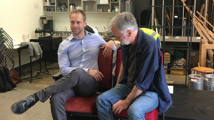 TheatreSquared's Martin Miller and Robert Ford try the new seat design